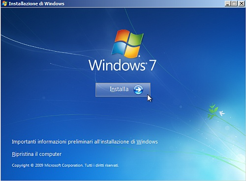 Installa Windows 7 da chiavetta USB