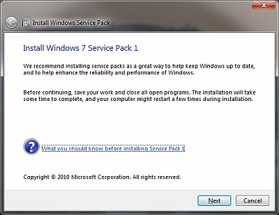 Windows 7 Service Pack Beta